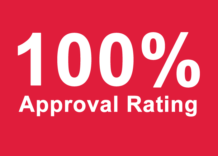 100% approval rating